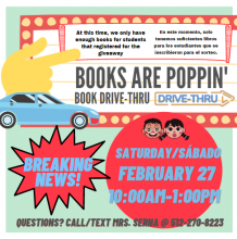 Books are popping- Book Drive, Feb 27, 10-1